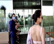 Kangana Ranaut in White saree Spotted at Mumbai Airport