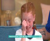 <p>Tears of schoolgirl, 10, as Mason Mount recalls moment he gave her his shirt</p>