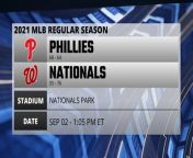 A look at the game preview for Phillies @ Nationals on SEP 02 -1:05 PM ET. You can count on us for everything you need to know about the 2020 MLB season. Your source for scores, previews, recaps, box scores, and more from every Major League Baseball game. The schedule is set, and we're ready for some baseball.